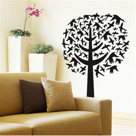 size wall stickers a black bird tree wall sticker 80x70cm size ay7081