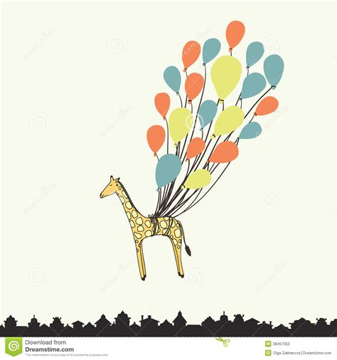 printable birthday cards giraffe cute hand drawn giraffe stock vector illustration of
