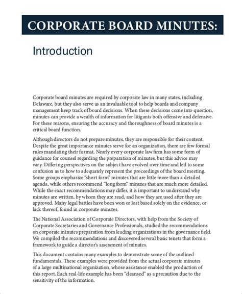 Corporate Minutes Template 10 Free Word Pdf Documents Download Free Premium Templates Corporate Minutes Template Pdf
