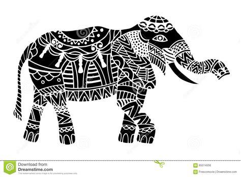 indian elephant doodle black ethnic elephant stock vector image 65514556