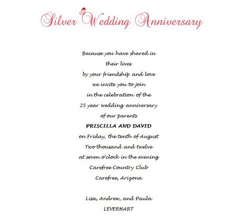 Simple Wedding Invitation Sles by 25th Wedding Anniversary Invitation Wording Sles
