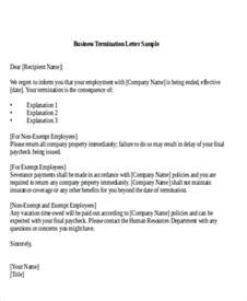 Company Termination Letter by Sle Termination Of Business Letter 6 Exles In Word Pdf