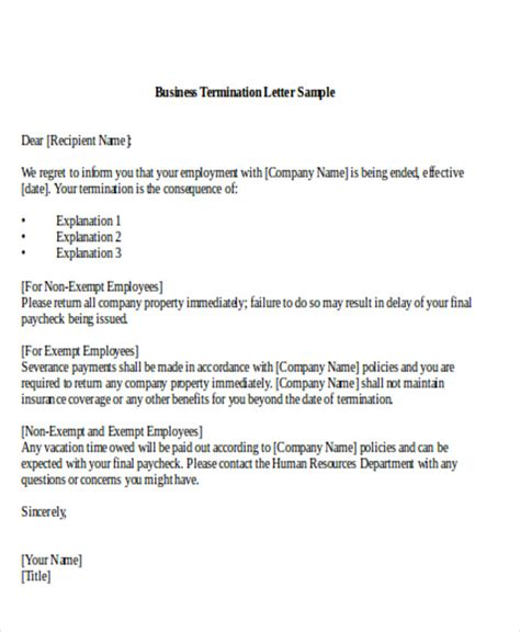 Closing Business Termination Letter Sle Termination Of Business Letter 6 Exles In Word Pdf