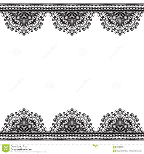 border pattern elements with flowers in indian mehndi