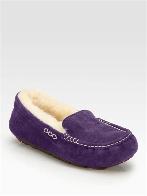 purple ugg slippers ugg ansley suede slippers in purple lyst