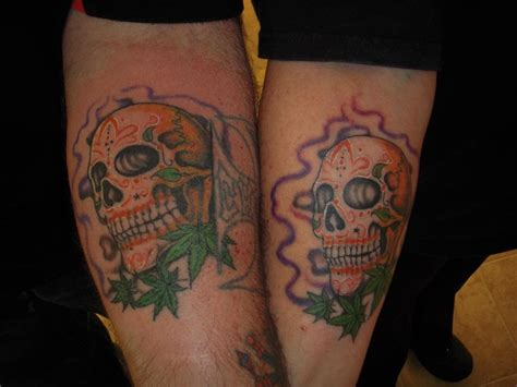 matching skull tattoos matching sugar skulls from cool ghoul in clearlake
