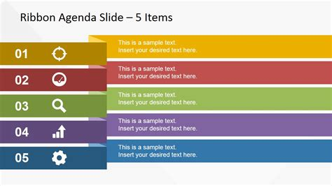 5 Items Ribbon Agenda Slide Template For Powerpoint Powerpoint Agenda Slide