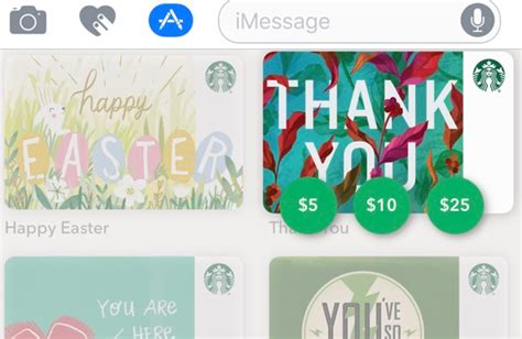 Does Seamless Have Gift Cards - starbucks ios app now allows for imessage gift cards appinformers com