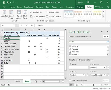 how to a pivot table in excel 2016 ms excel 2016 how to remove column grand totals in a