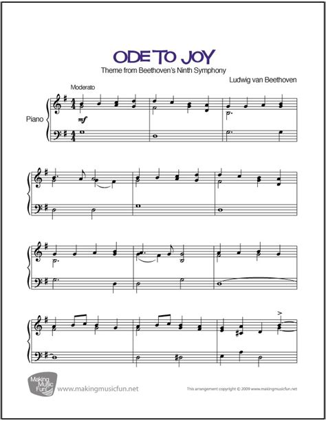 free printable piano sheet music intermediate ode to joy beethoven sheet music for intermediate