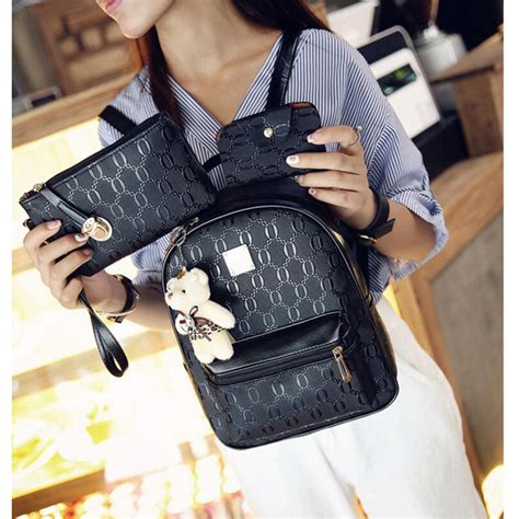 tas ransel fashion wanita bag in bag 4 in 1 black jakartanotebook