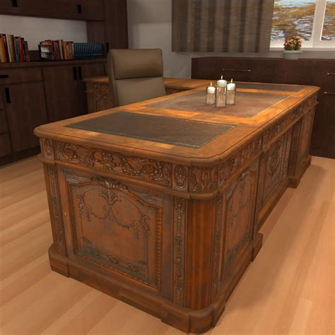 Carved Wood Antique Office Desk 3d Model Wooden Office Desk