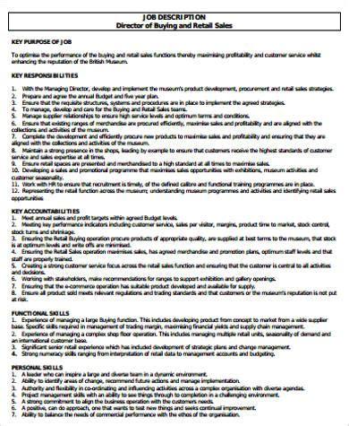 retail sales description sle 10 exles in word pdf