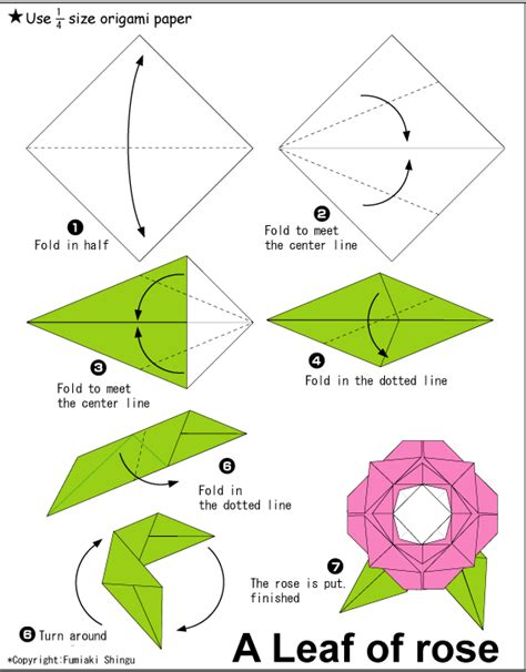 Origami With Stem Step By Step - make leaf of origami tutorial