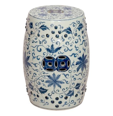 White Ceramic Garden Stool by Blue And White Lotus Flowers Ceramic Garden Stool