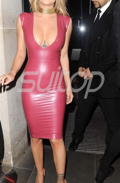 sexy simple party rubber latex  cut dress  red
