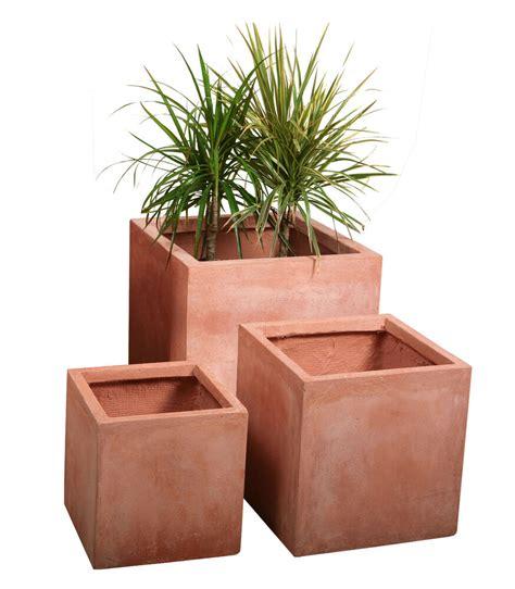 terracotta fibrecotta cube planter  sizes indoor outdoor