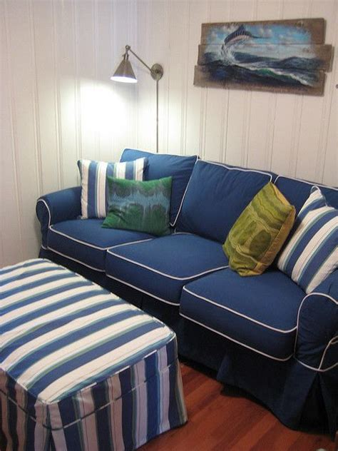 navy and white striped sofa washable sofa in navy cotton with striped ottoman navy