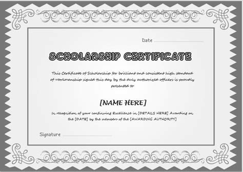 image result for scholarship certificate award certificate