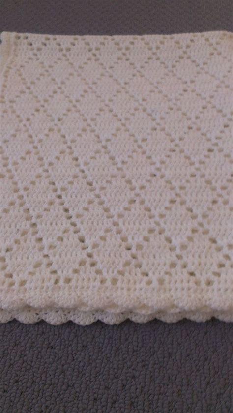 white pattern blanket handmade crochet pure white diamond pattern by