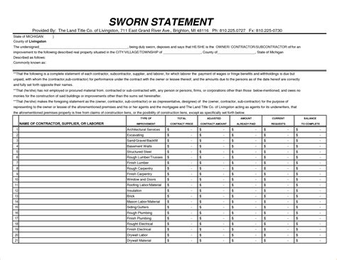 Sworn Construction Statement 300223870 Gif Pay Stub Template Contractor Sworn Statement Template Michigan