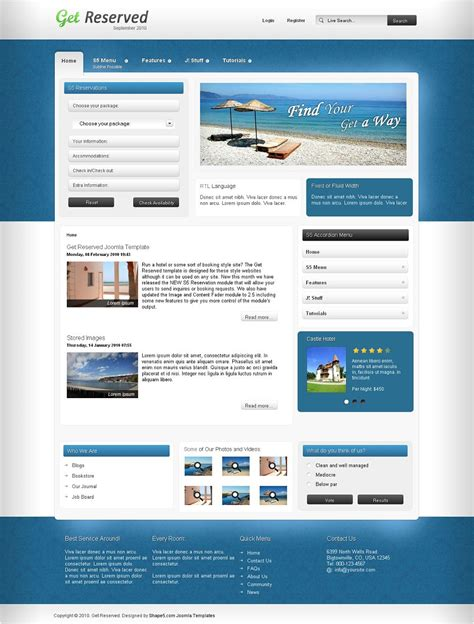 Get Reserved Premium Joomla Reservation Template For Hotel Booking Like Sites Booking Website Template Free
