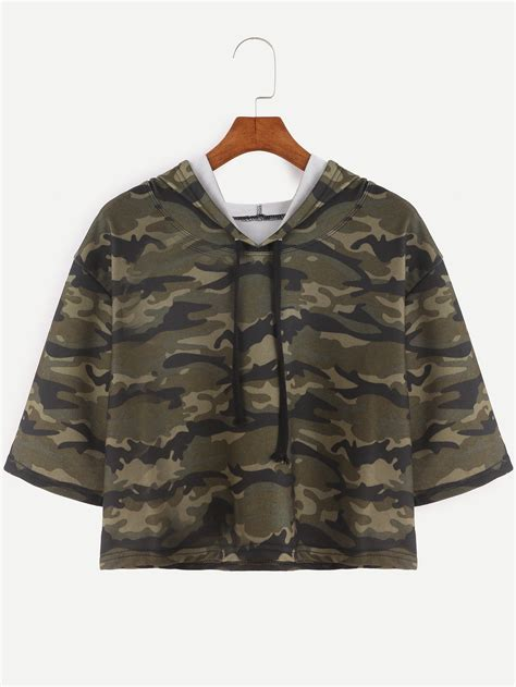 Sleeve Camo Print T Shirt camo print half sleeve drawstring hooded crop t shirt