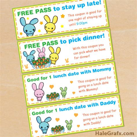 Printable Rabbit Food Coupons | free printable kawaii easter bunny coupon set