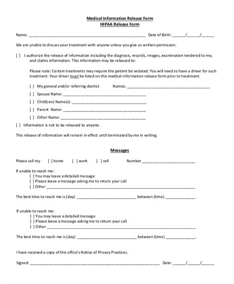 8 Sle Hipaa Release Forms Sle Templates Hipaa Compliant Release Of Information Template