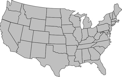 united states of america map outline gray clip at
