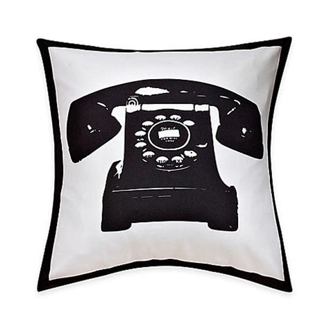 black throw pillows bed bath and beyond buy telephone print throw pillow in black white from bed