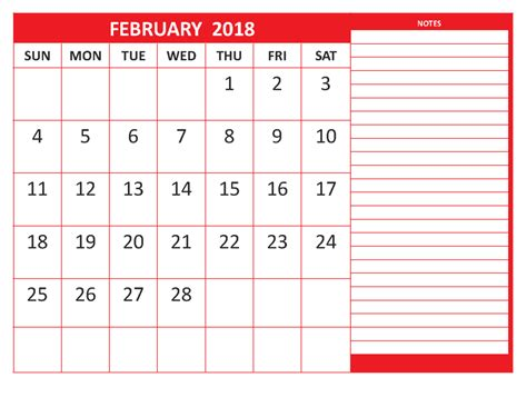 2018 calendar templates february 2018 printable blank template calendar 2018