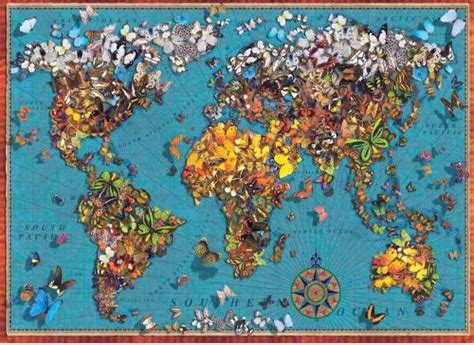 Jigsaw Puzzle Perre Butterfly World Map 1000 Pieces butterfly world map puzzle 1000 from anatolian