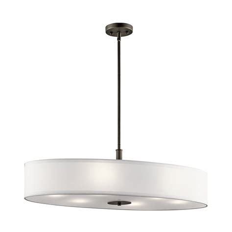 Lowes Lighting For Kitchen Shop Kichler 16 In W 6 Light Olde Bronze Kitchen Island Light With Fabric Shade At Lowes