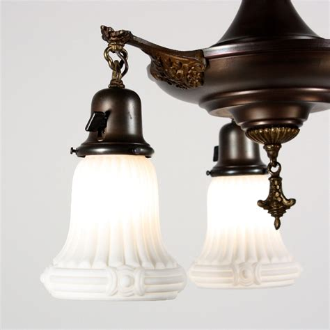 Antique Glass L Shades For Sale fantastic antique neoclassical three light chandelier with original glass shades for sale