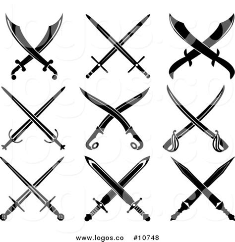 royalty free clip art vector black and white crossed
