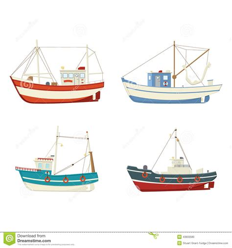 fishing boat vector colourful vector fishing boats stock vector image 43933580