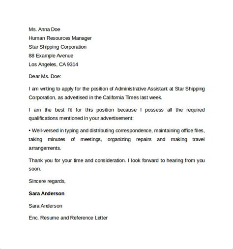Reference Letter Template Admin administrative assistant cover letter template 9 free sles exles format