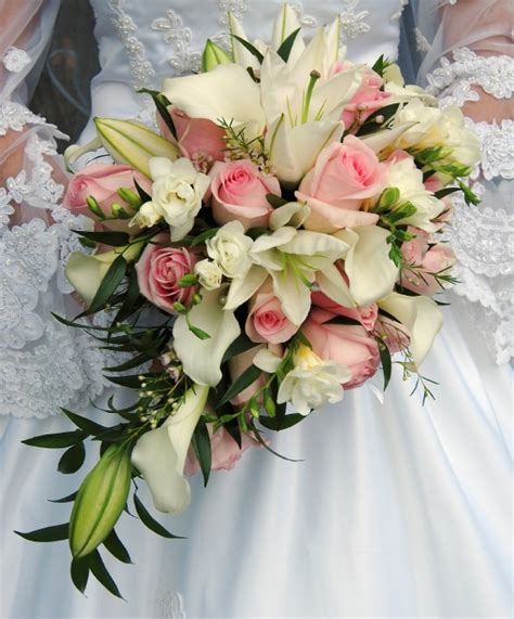 wedding bouquet with lilies and roses bouquet of
