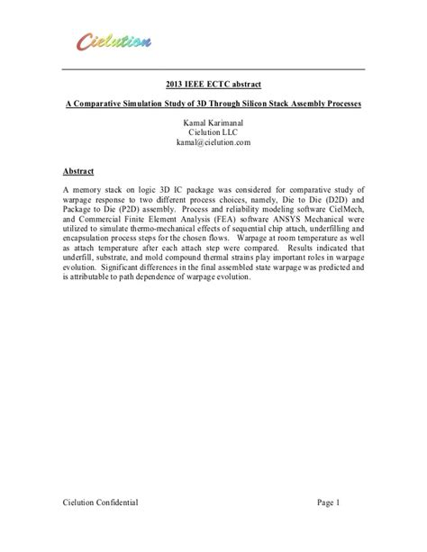 an abstract for a research paper 2013 ectc paper abstract on 3dic stack assembly