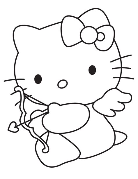 hello kitty coloring pages for valentines day hello kitty cupid for valentines day coloring page h m