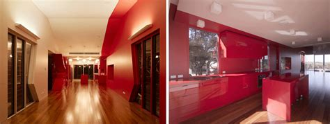 house unusual beach house  red interior digsdigs