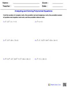 algebra 2 worksheets polynomial functions worksheets