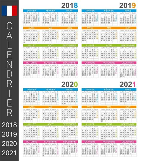 french wall calendar days  months  french language large poster