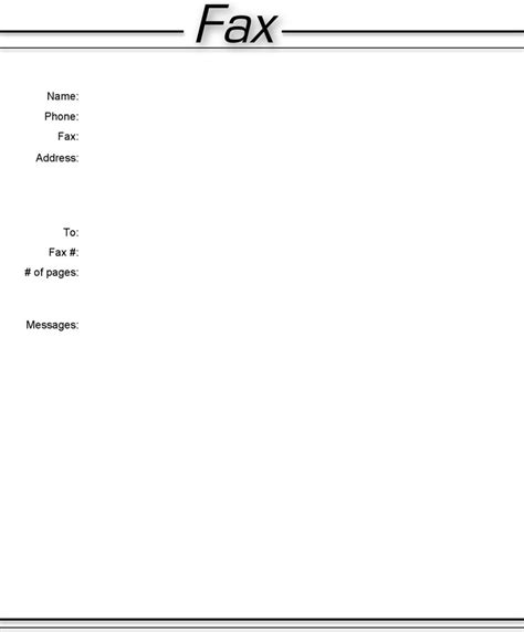 simple page template basic fax cover sheet free premium templates