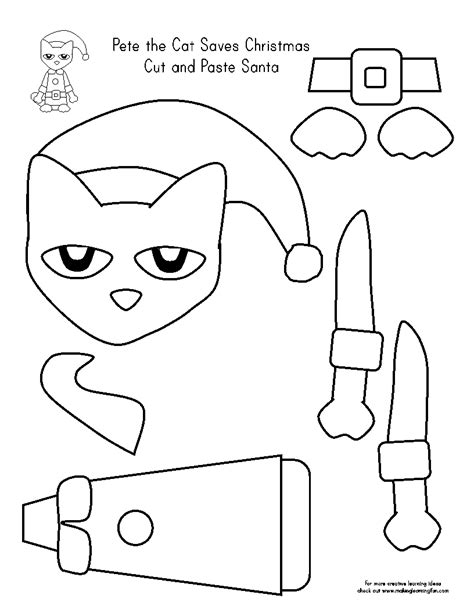 christmas cut and color pete the cat coloring page coloring home