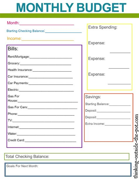 monthly budget worksheet template best photos of monthly household budget monthly