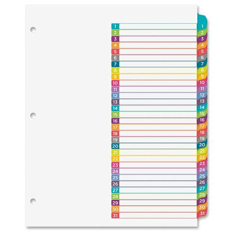 avery 12 tab index template ready index 1 31 tab dividers ld products
