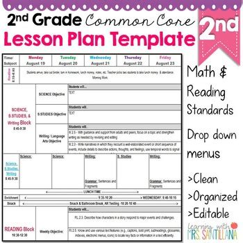 2nd grade common core lesson plan template lesson plan