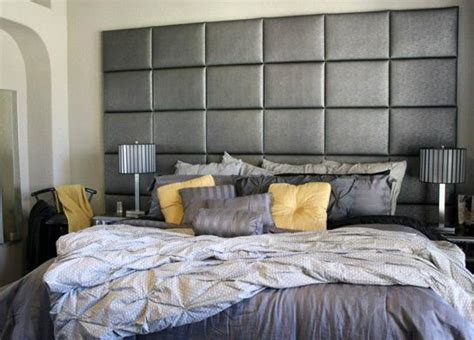 wall to wall headboard headboard wall of gray faux leather panels upholstered